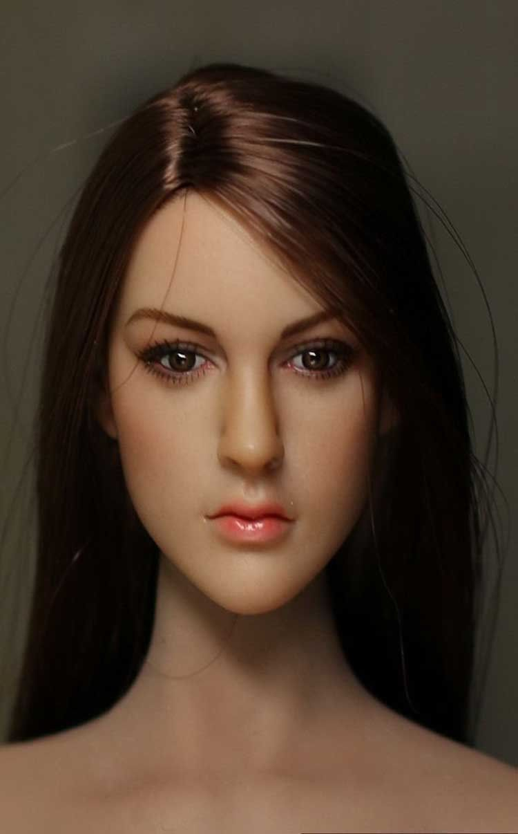 Custom 1/6 Sexy Brown Hair Girl Head Sculpt For Phicen Body New(China (Mainland))