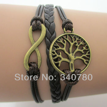 Hot Infinity, wish tree of life bracelet, antique bronze charms leather cords with chain friendship bracelets & bangles