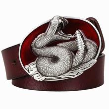 Buy Fashion men's Genuine Leather belt metal buckle Snake belt rattlesnake pattern king cobra belt punk rock style show girdle women for $19.85 in AliExpress store
