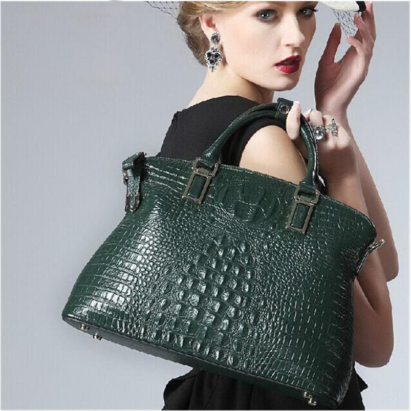 Nice Green Crocodile Skin Genuine Leather Women Bag Luxury Famous Brand Women Tote Handbag Shell O Shape Female C Bag 52ZD(China (Mainland))