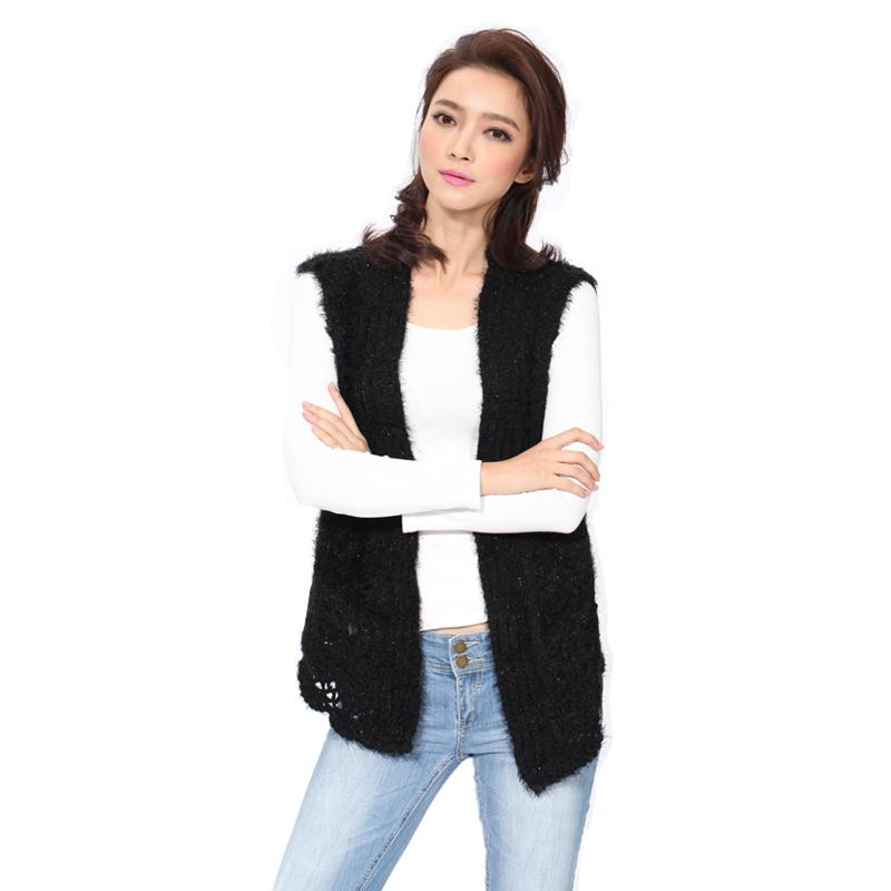 Knitting Vest For Women : Knitted vest women s sleeveless vests casual style open
