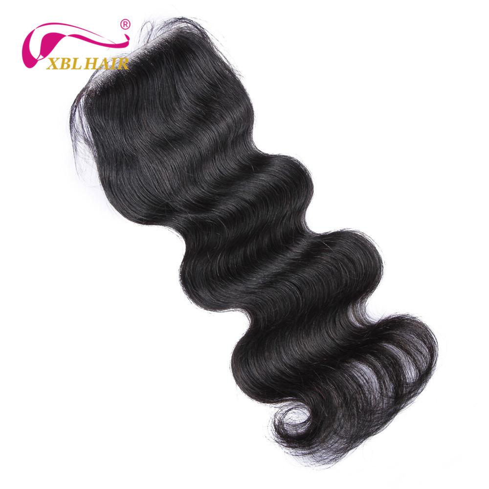 XBL Hair 4*4″ Body Wave Lace Closure Brazilian Virgin Hair Free Part 100% Human Hair 10-18″ Free Shipping