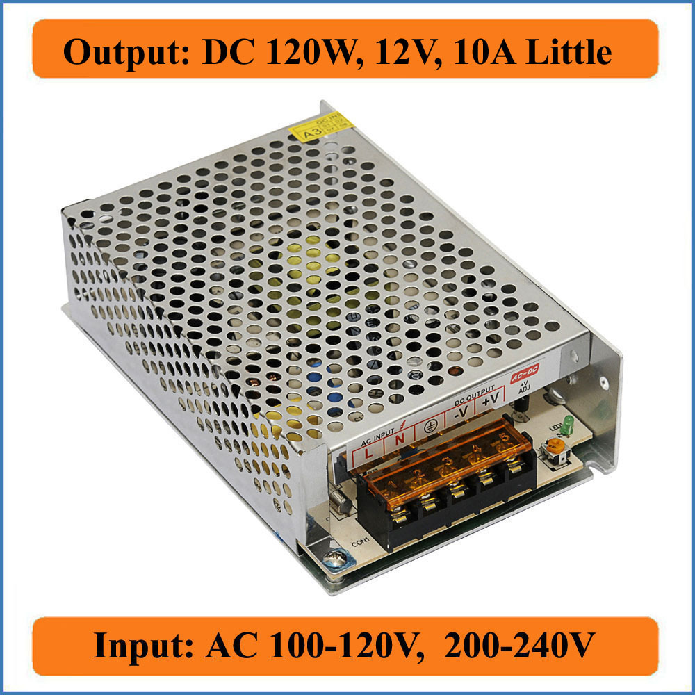 120W 12V 10A Little Single Output DC 12V Switching Power Supply AC 100~120V/200~240V input for LED Strip Light for CCTV camera(China (Mainland))