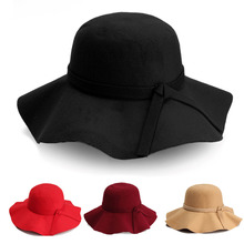 2015 Hot new Vintage Kids Child Boy Girl Hats Wool Felt Crushable Wide Large Brim Floppy Cloche Large brimmed Sun Cap Gift