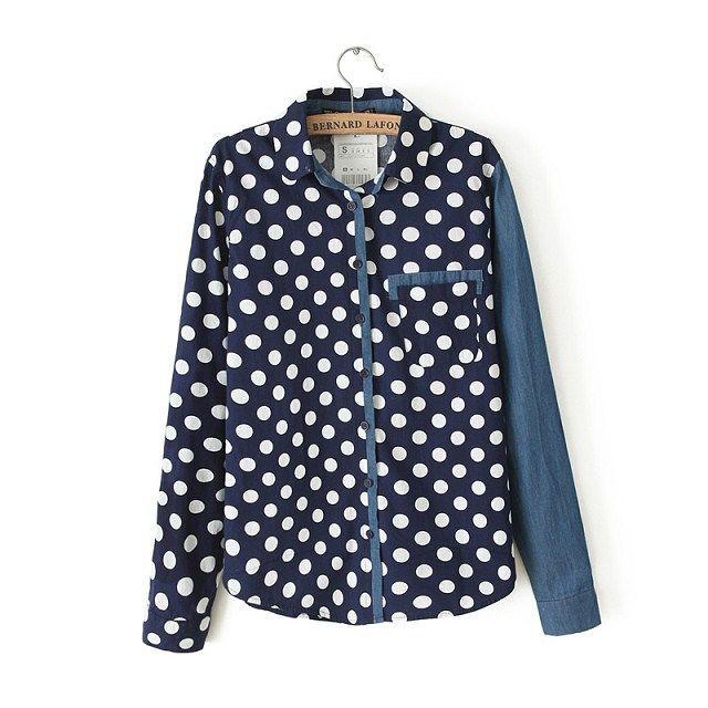 Navy Blue Polka Dot Shirt Shirt Polka Dot Print Navy
