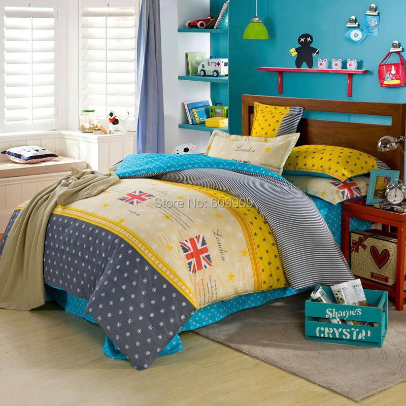 Фотография British Style Bedding English Flag Union Jack Girls Boys Kids Duvet Cover Set 100% All Cotton 4 Pieces