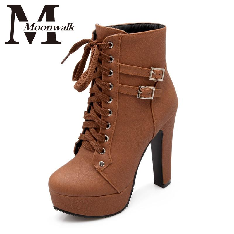 MOON WALK 2015 Autumn Winter Women Ankle Boots high heels lace up leather double buckle platform short booties new black X0761(China (Mainland))