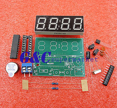 AT89C2051 Digital 4 Bits Electronic Clock Electronic Production Suite DIY Kit(China (Mainland))