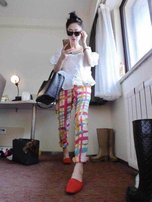 2015 most new fashion leisure Tops hit color trousers Photo Color L M code(China (Mainland))