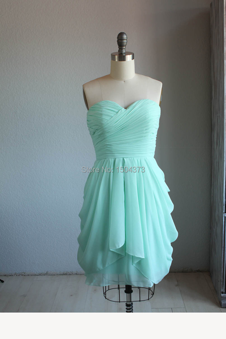 Hot sale mint green short prom dresses summer beach for Green beach wedding dresses