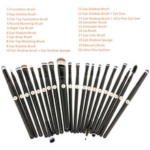 20PCS Eye Brush Set Make Up Cosmetic Brush Kit Powder Foundation Eyeshadow Eyeliner Lip Brushes Makeup