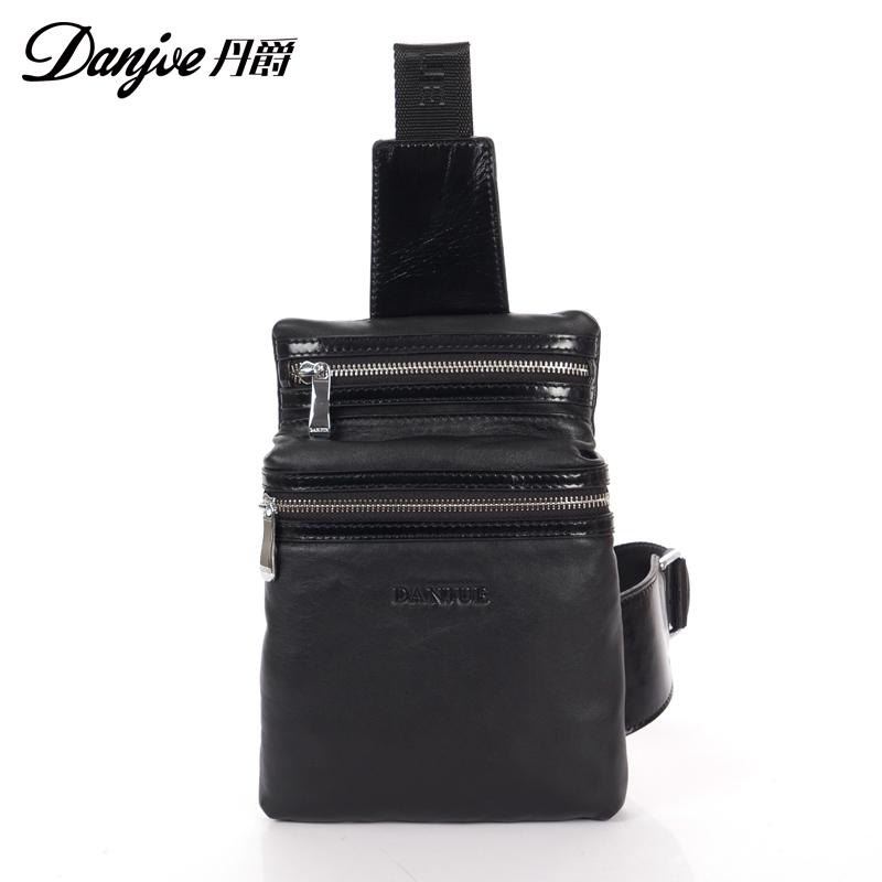 2015 Fashion Men Chest Bags Genuine Leather Diagonal Package Cross Body Bags Messenger Shoulder Casual Back Pack Free Shipping