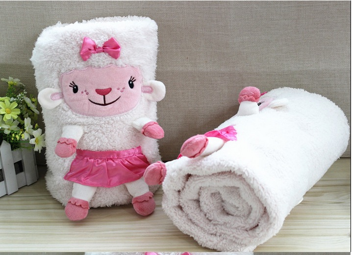 free shipping 100*75cm doc McStuffins sheep lambie plush stuffed blanket toys for children action figure plush dolls kids toy(China (Mainland))