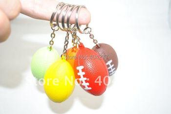 Rugby Ball Shape Soft PU Foam Keychain Key Chain Key Ring Bag Decorate Hanging Ornament