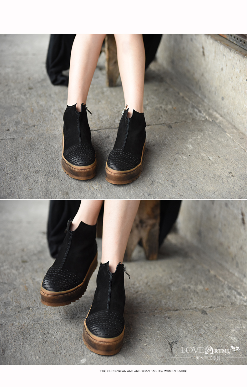 Original 2016 New Winter Boots Female British Thick Soled Martin Boots Comfortable All-Match Platform Leather Women Boots 186-3
