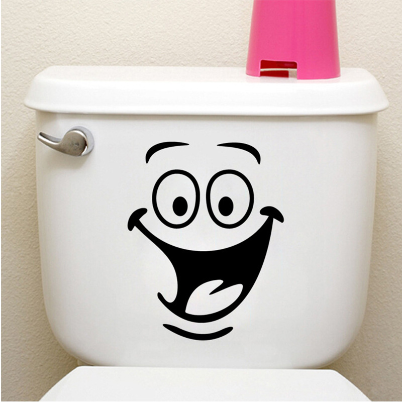 Funny Big Mouth Smile Face Toilet Stickers WC Bathroom Wall Sticker Waterproof Vinyl Door Decals Mural Art Home Decorations QT02(China (Mainland))