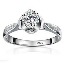 S925 Vintage Ring white gold filled engagement imitation diamond jewelry wedding bague for women accessories bijoux MSR074