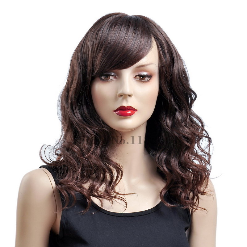 16inch Top Quality Japanese Fiber Medium-Length-Hair-Styles-For-Fine-Hair Dark Brown To Brown Natural Wavy Ombre Wig For Women<br><br>Aliexpress
