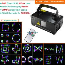 400mw RGB laser 3D Projector remote DMX sound DJ dance bar Xmas Party Disco lighting effect