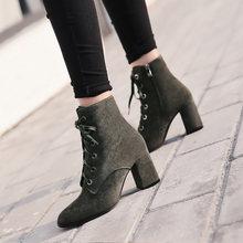 Donna-in kadınlar botları doğal süet deri kalın yüksek topuk dantel-up martin çizmeler hakiki deri ayakkabı kare ayak yarım çizmeler(China)