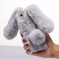 3D Cute Bling Warm Rabbit Hair Case For Sony Xperia XA Cover Soft Silicone Phone Cases For Sony XA Fluffy Rabbit Shell Phone Bag