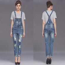 Women Jumpsuit Denim Overalls 2016 New Casual Ripped Hole Shadow Wash Loose fit Ripped Jeans good washing with buckels