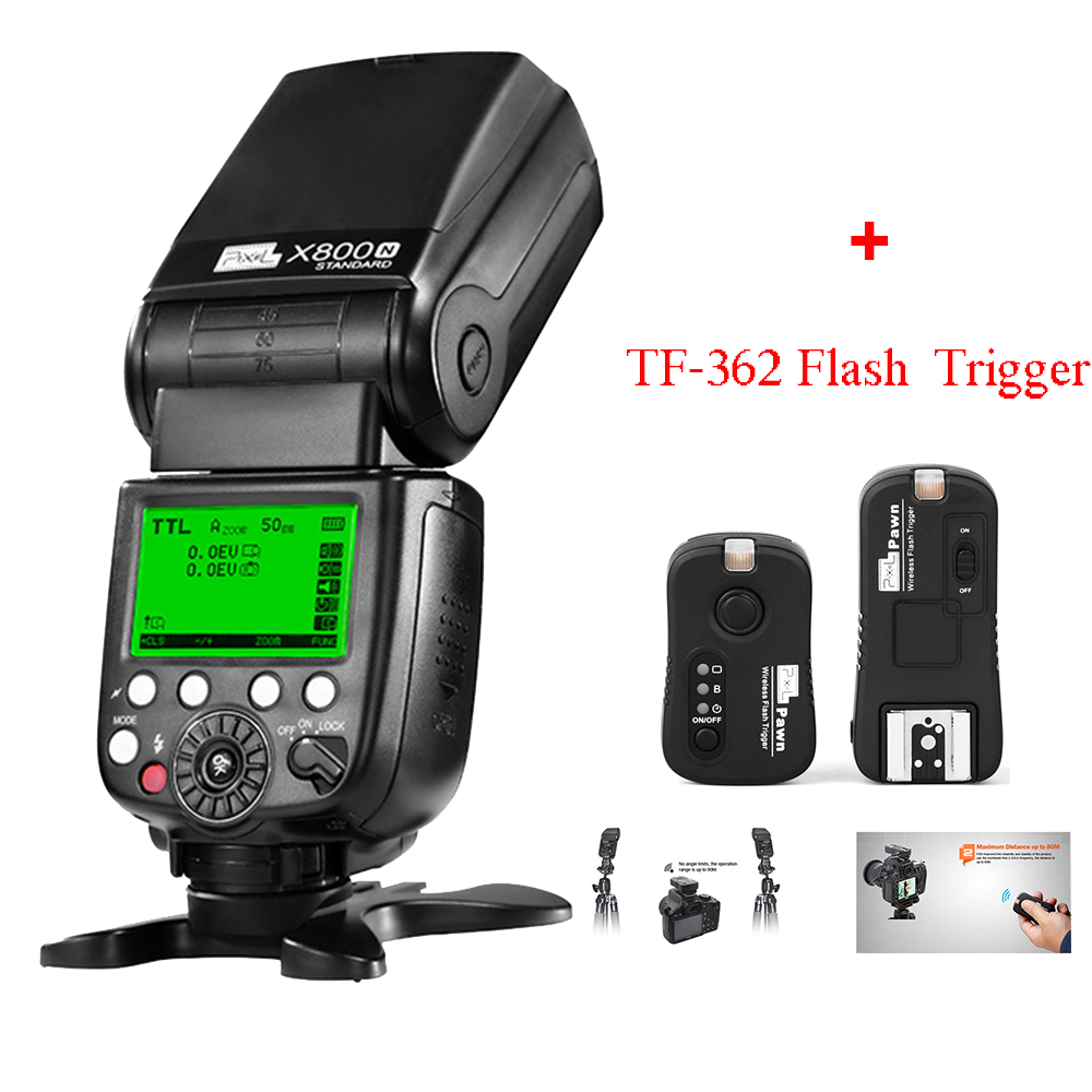 Pixel X800N GN60 Wireless ITTL HSS Radio Flash Speedlite for NIK d3100 d7100 d90 d5300 + Pixel TF-362 Flash Trigger(China (Mainland))