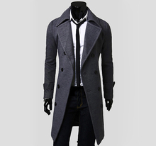 2016 New Fashion High Quality Solid Color Turndown Collar Elegant Double-Breasted Design Long Sleeves Woolen Trench Coat For Men(China (Mainland))