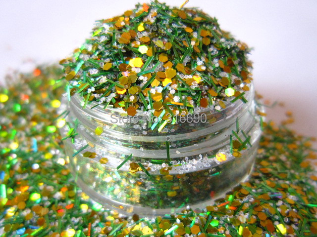 Green Holographic solvent resistant glitters mixes G356(China (Mainland))