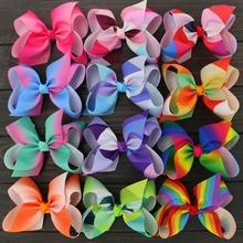 "Buy Toplay 12pcs/lot Little Girls Large Grosgrain Ribbon 6"" Hair Bows Boutique Rainbows Bows Alligator Clips Accessories for $11.88 in AliExpress store"