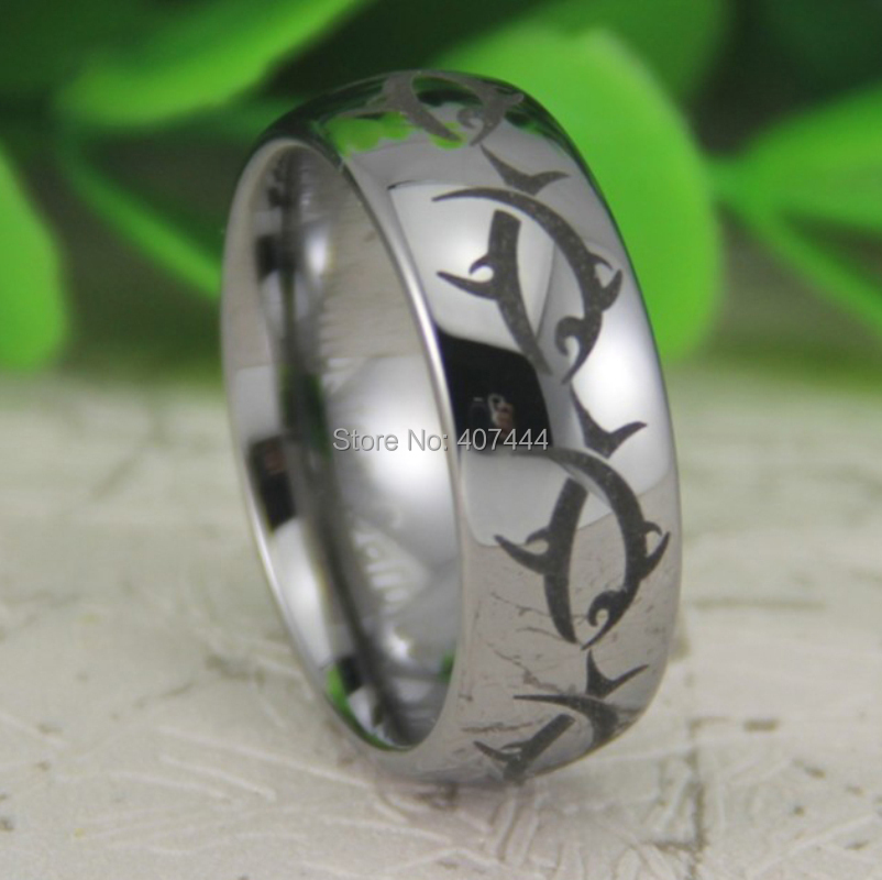 Free Shipping USA UK Canada Russia Brazil Hot Sale 8MM Silver Dome Maori Whale Tribal Fish The Lord Men's Tungsten Carbide Ring(China (Mainland))