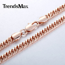 5 7 8mm Curb Link Chain Mens Necklace Rose Gold Filled Necklace Customized Jewelry Gift GNM76