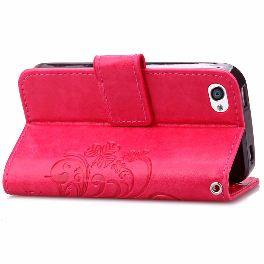 Fashion Lucky Clover Design PU leather Wallet Case For Apple iPhone 4 4s Wallet Card Holder stand Flip Phone Bags cover