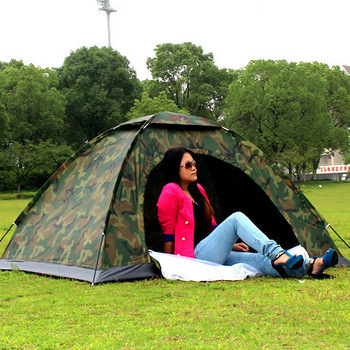 Camouflage hiking tent Outdoor camping tents Or bivvy for 1 or 2 persons Army Tourist tents de camping or tienda de campana(China (Mainland))