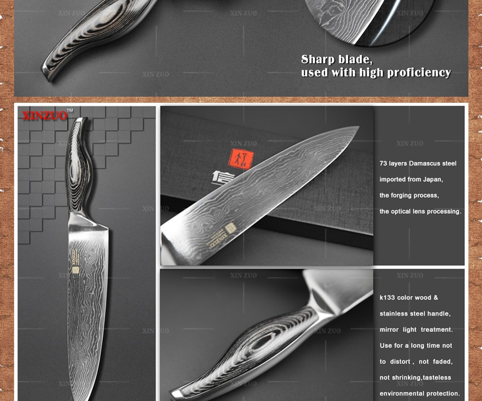 """Buy 8"""" inches chef knife 73 layer Japanese VG10 Damascus steel kitchen knife High quality sharp chef knife wood handle free shipping cheap"""