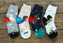 HOT!! 2015 wholesale brand high quality cotton cute cartoon bear Parental socks women kawaii calcetines mujer chaussette femme