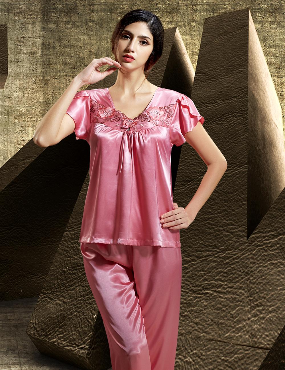 2016 Summer Women Pajamas Ruffles Short Sleeve Pijama Emulation Silk Sexy Square Collar Sleepwear Lace Embroidery Pyjama 6511(China (Mainland))