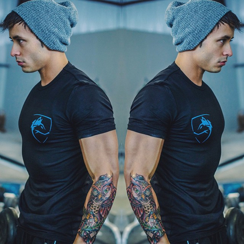 Breathable Gym Print mens t-shirts skinny sport Casual t shirt men shirts basketball tee shirt homme Cotton Tops Tees(China (Mainland))