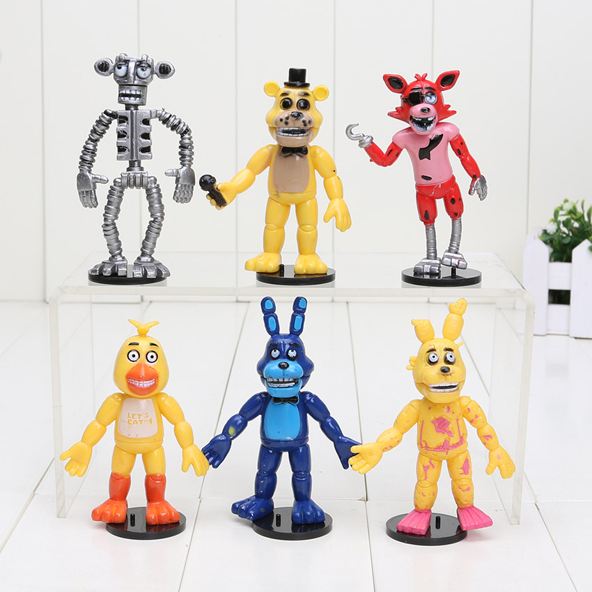 10sets Five Nights At Freddy's FNAF Bonnie Foxy Freddy Bear PVC Action Figure Toy Doll Kids Toys 6pcs/Set(China (Mainland))