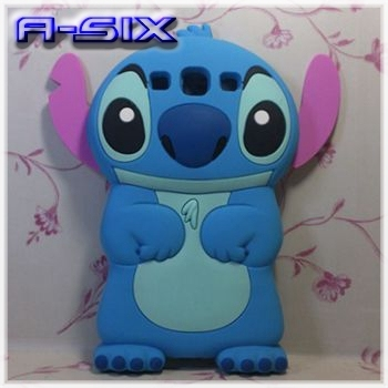 Free Shipping Blue 3D Ear Lilo & Stitch Cartoon Silicon mobile phone Cover Case for Samsung I9300 Galaxy S3 SIII