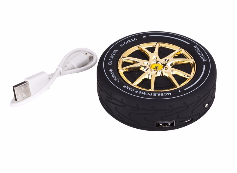 Tire automobile wheel mobile power charging treasure 12,000 mA portable mobile charging treasure, for a variety of smart phones