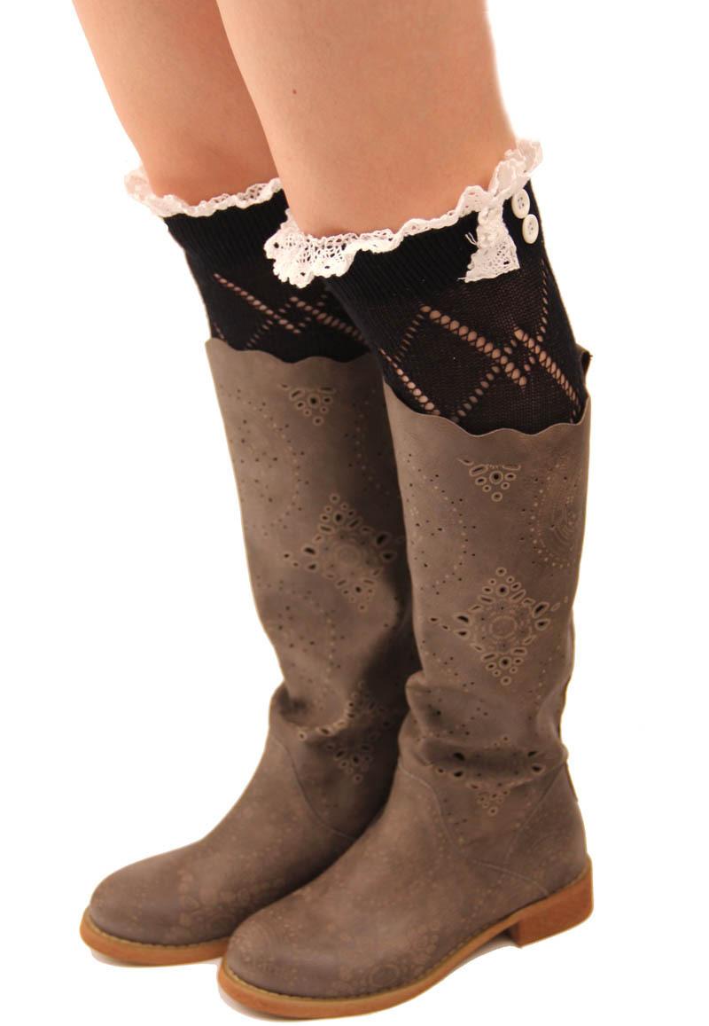 Aliexpress.com  Buy Free Shipping Fashion Womenu0026#39;s Short Lace Leg Warmers Boot Socks Leg Warmers ...