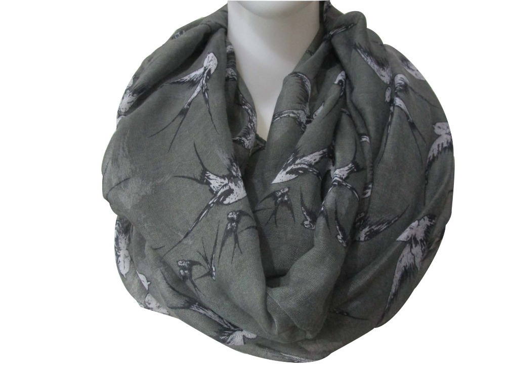 Free Shipping 2016 New Fashion Autumn/Winter Grey Wild Birds Swallow Infinity Scarf For Women(China (Mainland))