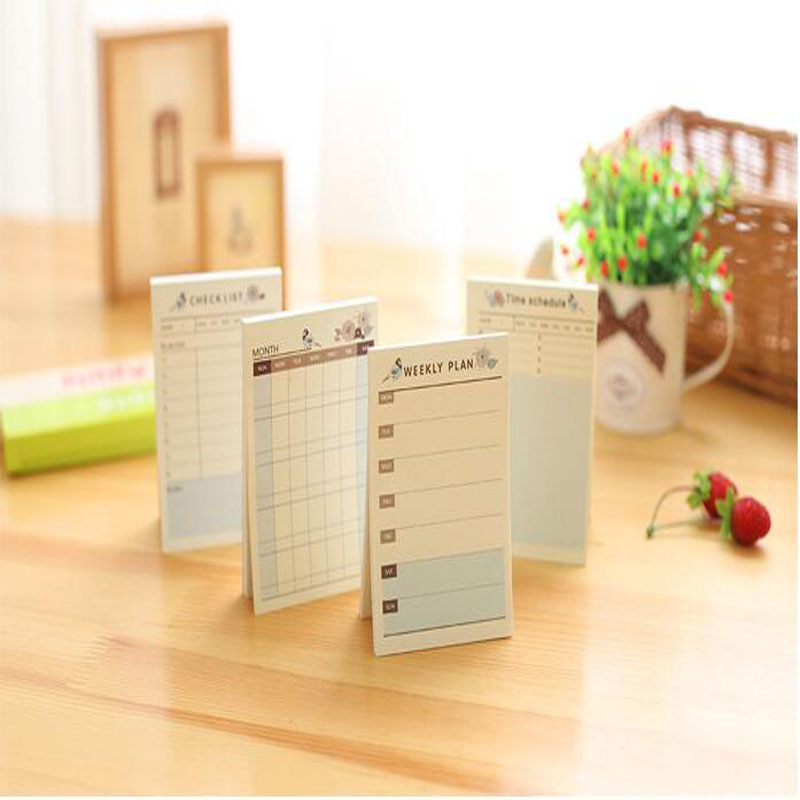 Self Adhesive Weekly Planner Stickers Monthly Planner Notepad Portable Memo Pad Check List Planner Office School Supplies 7.216(China (Mainland))