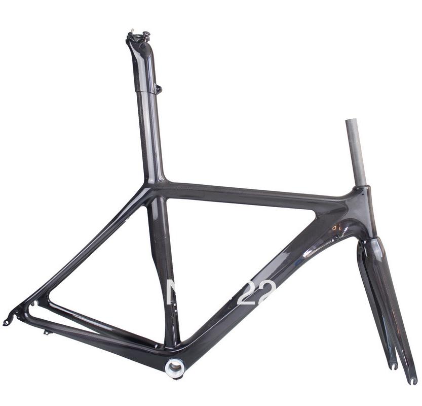 2014 New Integrated Road Racing Bike Bicycle Carbon Frame Fork Seatpost 55CM 3K BSA Frameset(China (Mainland))