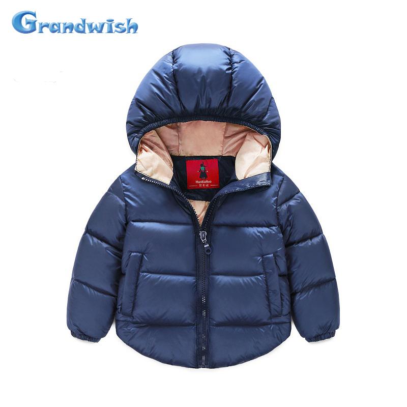 Grandwish New Winter Girls Solid Cotton Jackets font b Boys b font Parkas Hooded Warm Coat