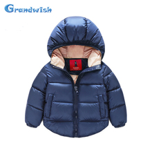 Grandwish New Winter Girls Solid Cotton Jackets Boys Parkas Hooded Warm Coat Kids Outerwear Kids Clothing 18M-6T, SC318
