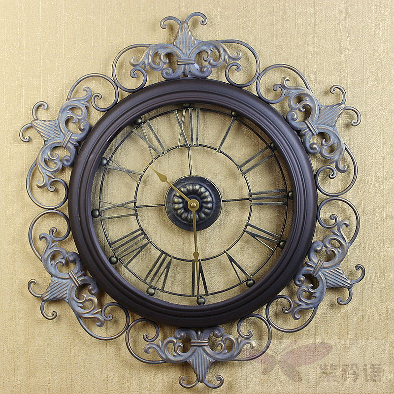 Fashion tieyi large wall clock retro antique finishing for Living room wall clocks