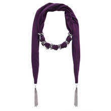 Deep Purple with Silver Long Tassel Cotton Scarf Pendant Necklace Designer Scarf Women (SC150042)(China (Mainland))