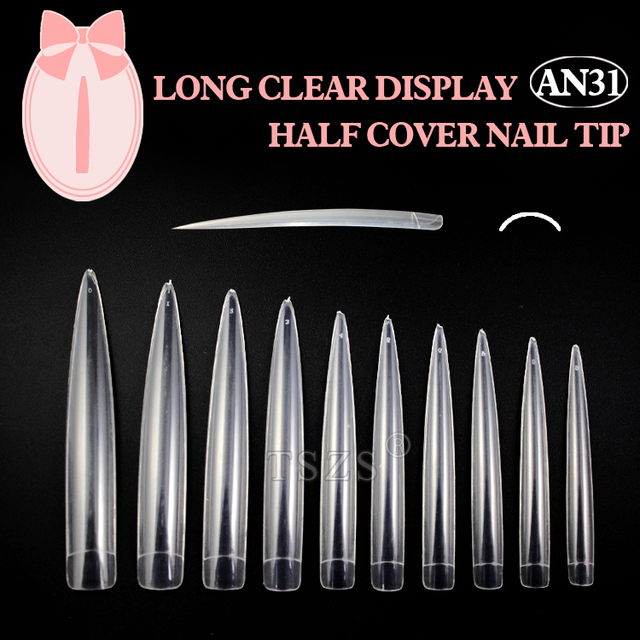 10bag/lot  Clear Long Nail Tip Pointed stiletto Fake Nails for Nail Art